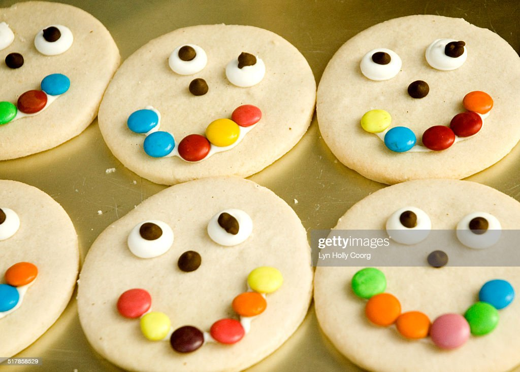 Cookies with candy face : Stock Photo