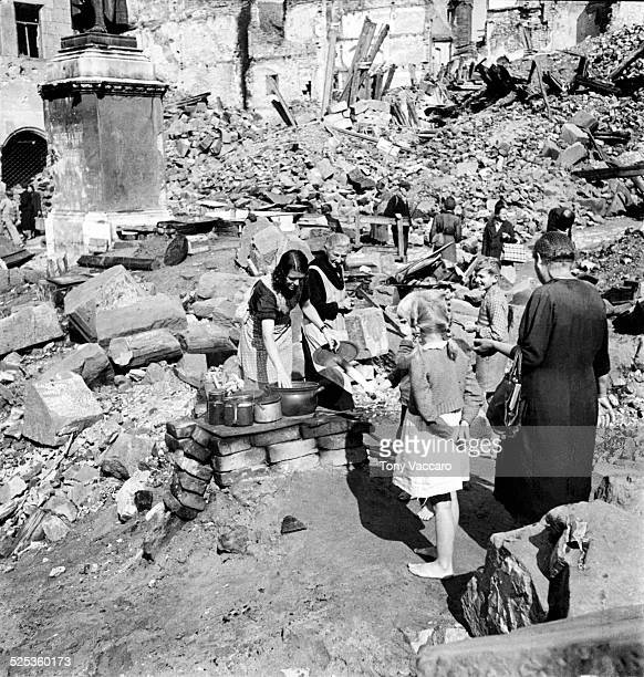 Cooking and living in the ruins of Nuremberg Germany World War II August 1945