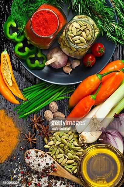 Ingrédients et les épices de la cuisine