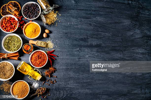 cooking and seasoning spices background. copy space - seasoning stock pictures, royalty-free photos & images
