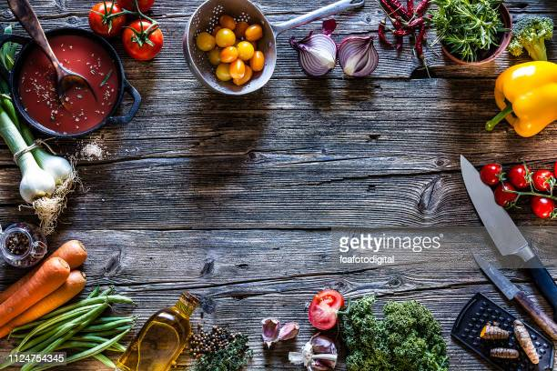 cooking backgrounds: fresh vegetables and kitchen utensils frame - ingredient stock pictures, royalty-free photos & images