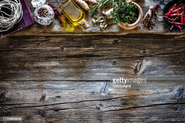 cooking backgrounds: spices and herbs frame - kitchen background stock pictures, royalty-free photos & images