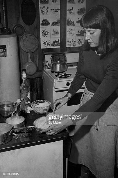 MAR 31 1977 APR 2 1977 APR 6 1977 Cooking Cooks Deborah prepares a tarte aux fraises a pastry shell filled with vanilla custard kirsch and...