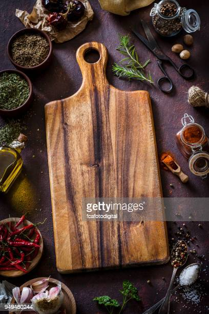 Cooking: cutting board with ingredients and spices