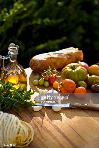 cooking ingredients & olive oil, food for italian pasta dinner - cruet stock photos and pictures