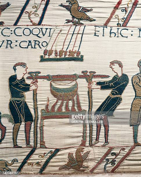 Cooking Meat detail of Queen Mathilda's Tapestry or Bayeux Tapestry depicting Norman conquest of England in 1066 France 11th century