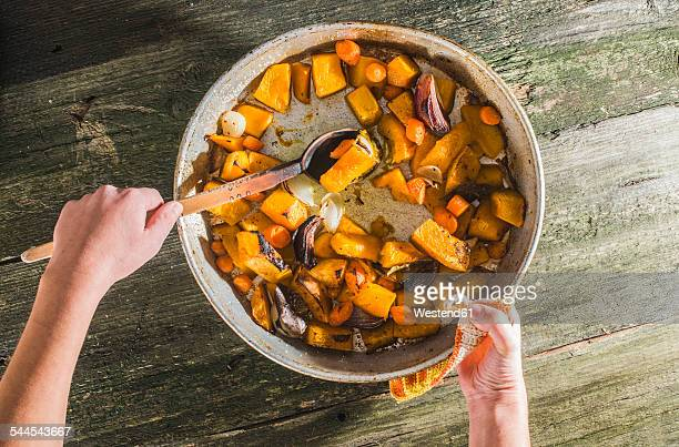 Cooking of pumpkin and vegetables