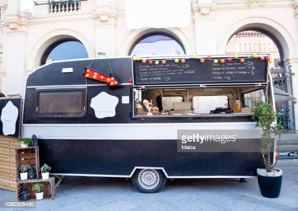 cooking on the food truck - food truck stock pictures, royalty-free photos & images