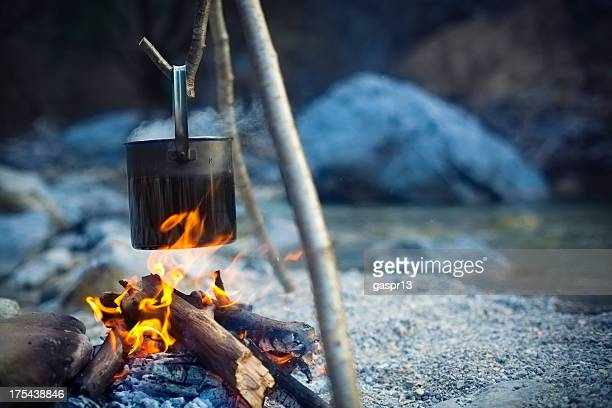 cooking pot above camp fire