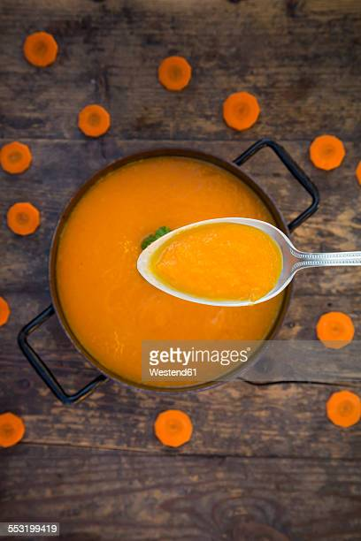 Cooking pot of carrot soup