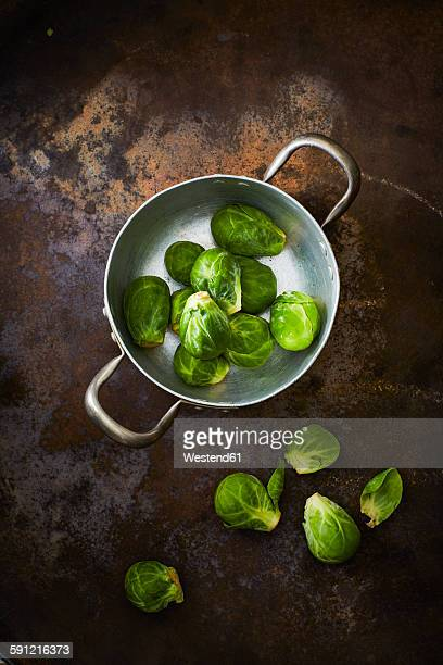 Cooking pot with Brussels sprouts
