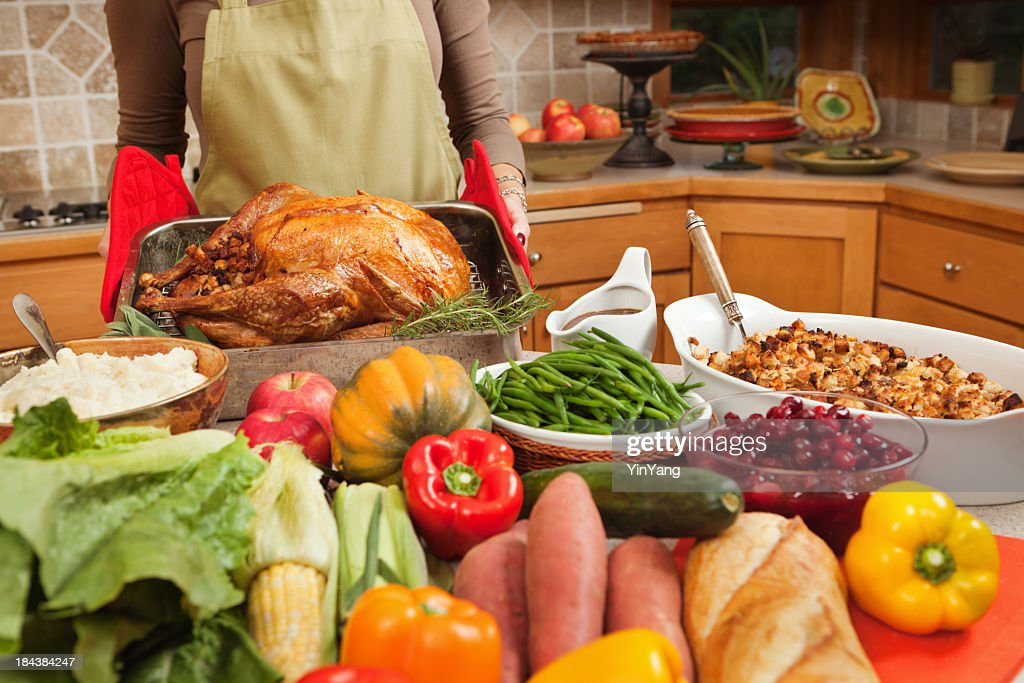 Cooking Thanksgiving Roast Turkey Dinner, Holiday Preparation in Home Kitchen : Stock Photo