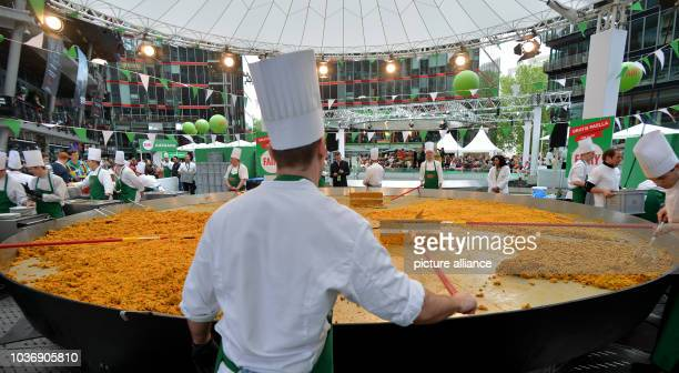 Cooks prepare the biggest paella in Germany during a sales campaign at Sony Center in Berlin, Germany, 01 June 2013. Photo: Britta Pedersen | usage...