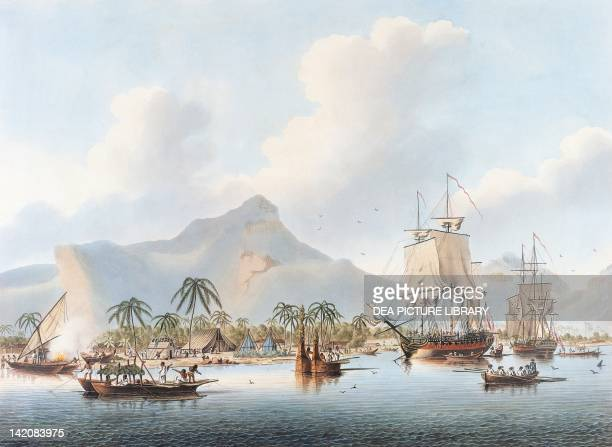 Cook's ships anchored in Huahine Bay during his third visit to Polynesia