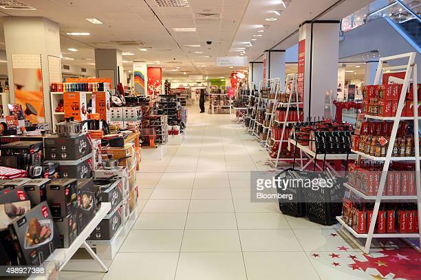 Cookware sits on display on an empty department floor at a Debenhams Plc store during a Black Friday sale in London UK on Friday Nov 27 2015 Last...
