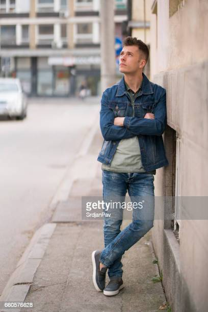 cool attitude - double denim stock photos and pictures