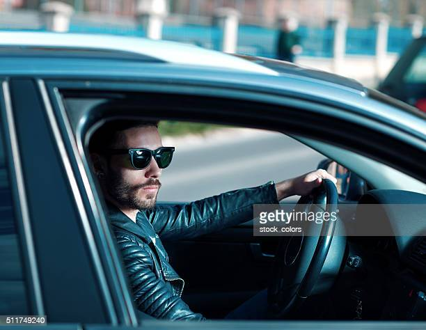 cool driver in his car