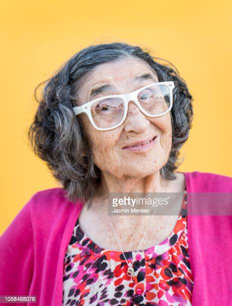 Cool elder lady with glasses