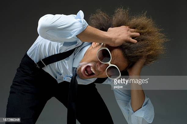 cool funky businessman tearing hair out - tinted sunglasses stock pictures, royalty-free photos & images