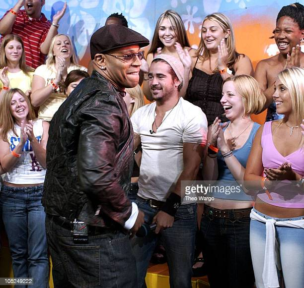 LL Cool J and Colin Farrell during Cast Members of SWAT Stop by MTV's TRL August 7 2003 at MTV Studios Times Square in New York City New York United...
