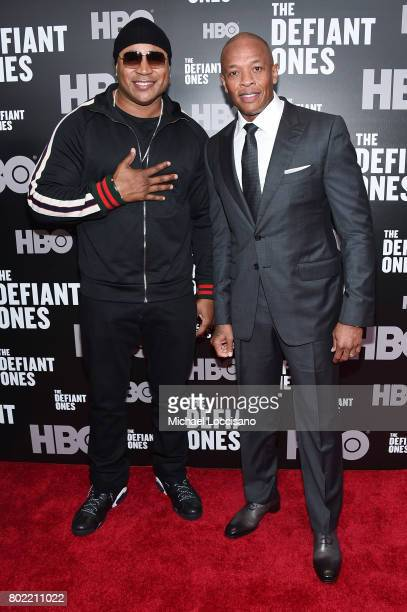 Cool J and Dr Dre attend The Defiant Ones premiere at Time Warner Center on June 27 2017 in New York City