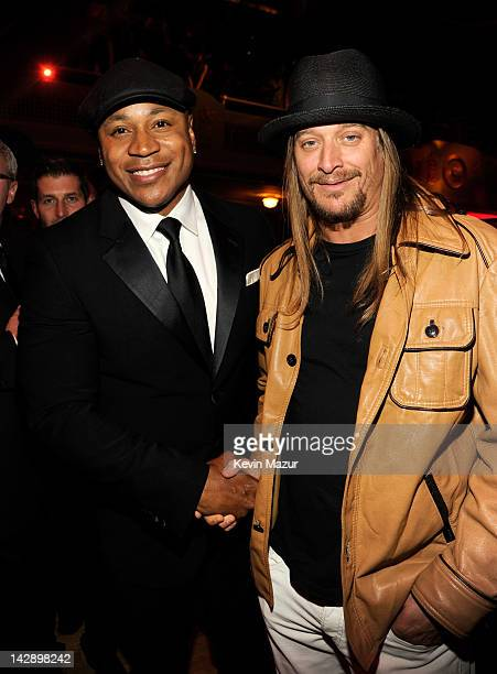 LL Cool J and Kid Rock attend the 27th Annual Rock And Roll Hall Of Fame Induction Ceremony at Public Hall on April 14 2012 in Cleveland Ohio