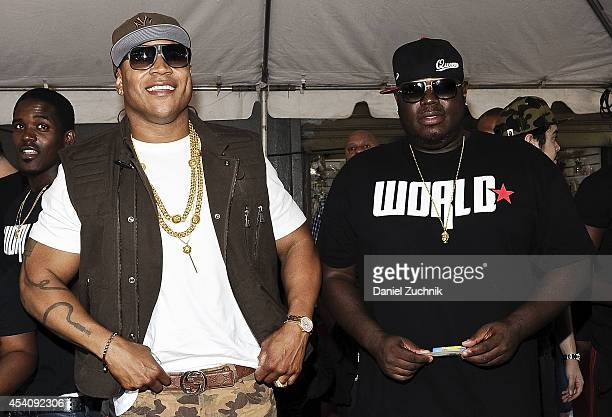 Cool J and WorldStarHipHop CEO Lee O'Denat attend the 2nd Annual Worldstar Foundation Back To School Giveaway at Jamaica Colosseum Mall on August 24...