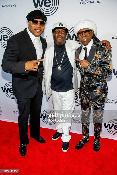 Cool J Grandmaster Flash and Nile Rodgers attend the We Are Family Foundation 2018 Gala at Hammerstein Ballroom on April 27 2018 in New York City
