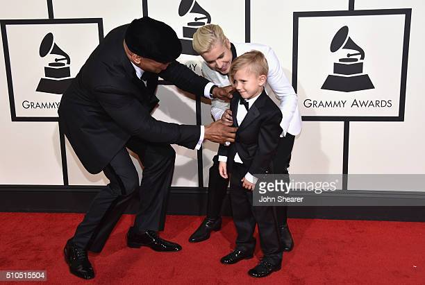 LL Cool J Justin Bieber and Jaxon Bieber attend The 58th GRAMMY Awards at Staples Center on February 15 2016 in Los Angeles California