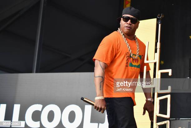 Cool J performs onstage during Day 5 of the 2018 New Orleans Jazz Heritage Festival at Fair Grounds Race Course on May 4 2018 in New Orleans Louisiana
