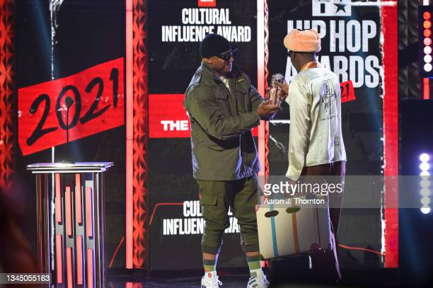 Cool J presents an award to Tyler the Creator onstage during the 2021 BET Hip Hop Awards at Cobb Energy Performing Arts Centre on October 01, 2021 in...