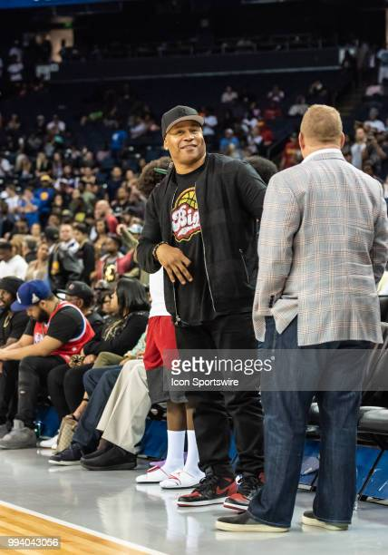 Cool J rapper and entertainer stretches during halftime of game 4 in week three of the BIG3 3on3 basketball league on Friday July 6 2018 at the...