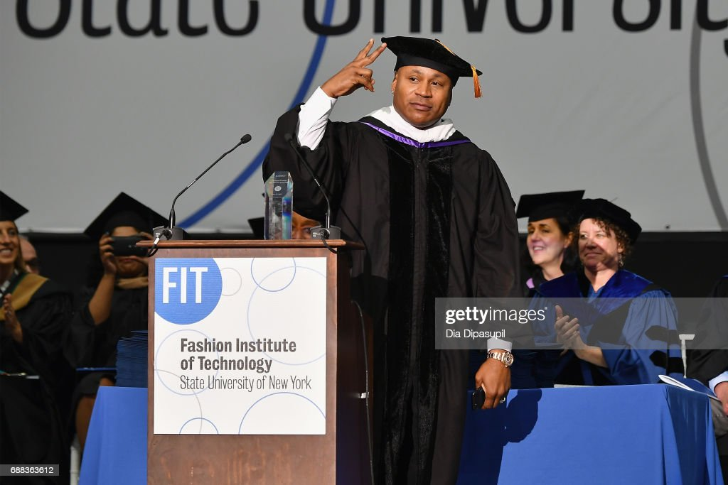LL Cool J speaks onstage after receiving the President's Award for Creative Excellence during The Fashion Institute of Technology's 2017 Commencement Ceremony at Arthur Ashe Stadium on May 25, 2017 in New York City.