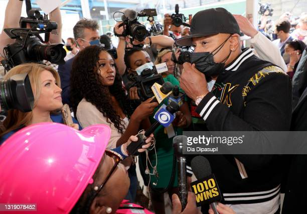 Cool J speaks with the press at The Universal Hip Hop Museum Groundbreaking Ceremony Held In Bronx Point on May 20, 2021 in New York City.