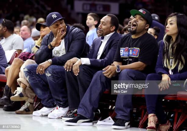 Cool J Stephen A Smith and founder Ice Cube attend week four of the BIG3 three on three basketball league at Wells Fargo Center on July 16 2017 in...