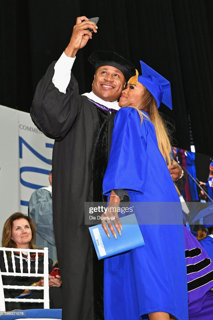 LL Cool J (L) takes a selfie with daughter Samaria Leah Smith (R) as she graduates during The Fashion Institute of Technology's 2017 Commencement Ceremony at Arthur Ashe Stadium on May 25, 2017 in New York City.