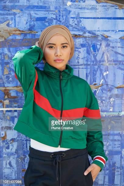 Cool muslim woman in sportswear