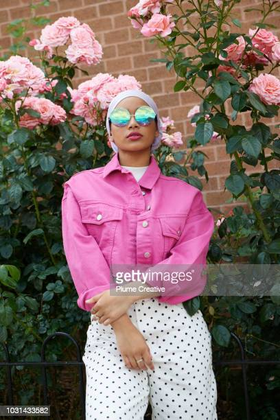 Cool Muslim woman with pink roses