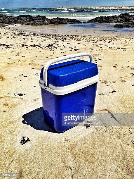 cooler on beach - esky stock photos and pictures