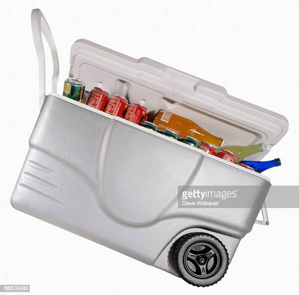 Cooler or ice chest filled with soft drinks