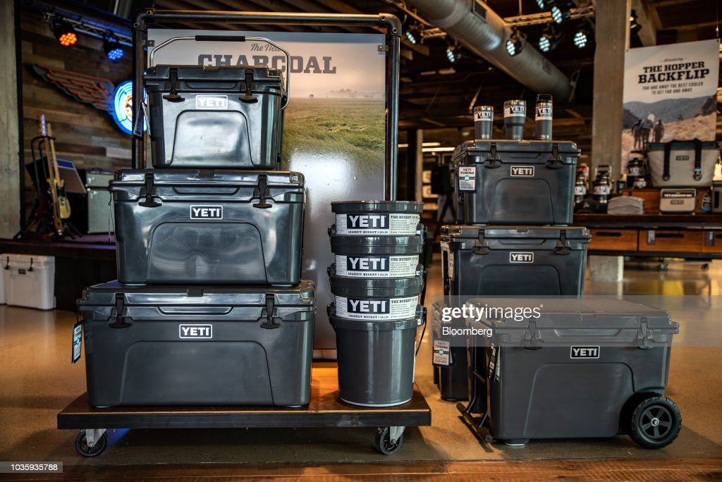 Coolers sit on display for sale at the Yeti Holdings Inc  flagship