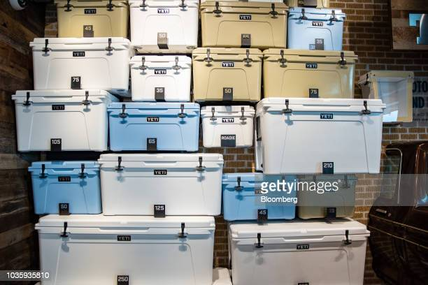 Coolers sit on display for sale at the Yeti Holdings Inc flagship store in Austin Texas US on Wednesday Sept 12 2018 Bloomberg is scheduled to...
