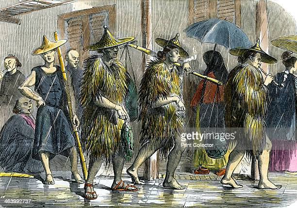 Coolies at Hong Kong in wet weather c1875
