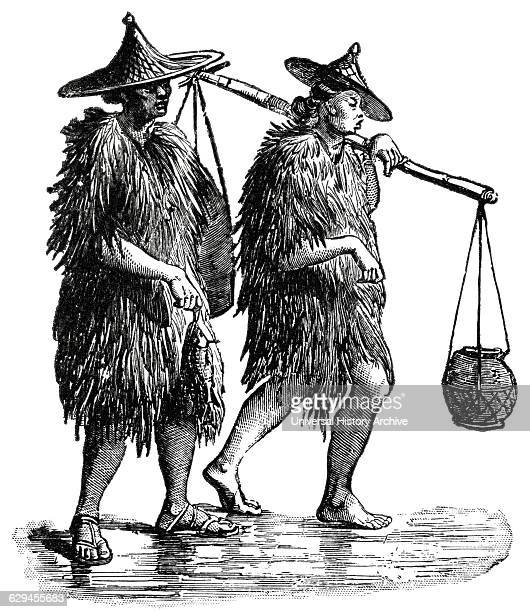 Coolies or Porters Dressed in WaterProof Garments Made of Leaves or Straw China 'Classical Portfolio of Primitive Carriers' by Marshall M Kirman...