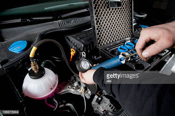 cooling system of a modern car, leak test - vehicle grille stock pictures, royalty-free photos & images