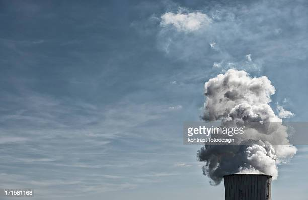 Cooling tower, power plant, Steam, Pollution