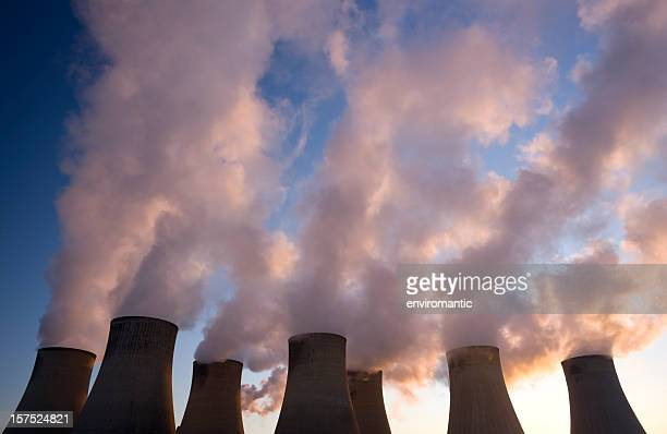 cooling towers at a coal fueled power station. - fumes stock photos and pictures