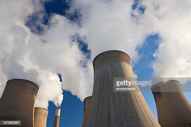 cooling towers at a coal fueled power station. - power station stock pictures, royalty-free photos & images