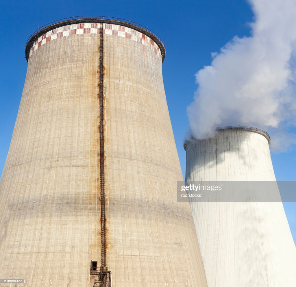 Cooling towers of the power plant : Stock Photo