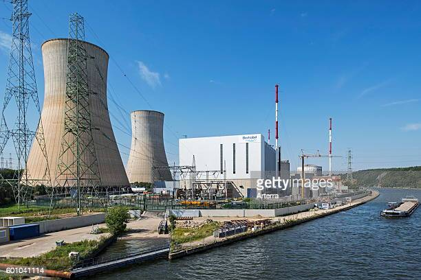 Cooling towers of the Tihange Nuclear Power Station along the Meuse River at Huy / Hoei Liege / Luik Belgium